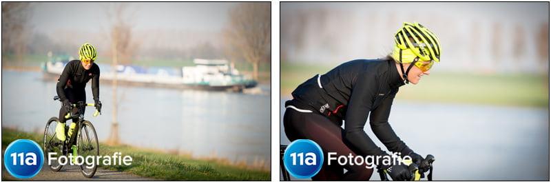 Michelle Zacht fiets langs de Maas