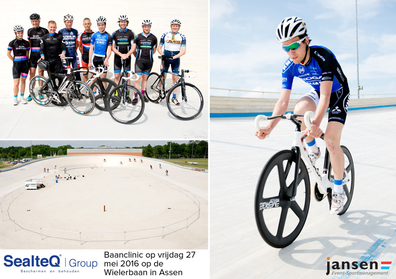 foto-afdruk van fietsclinic op de Wielerbaan in Assen